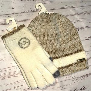 MICHAEL Michael Kors Knit Hat & Tech Gloves Set